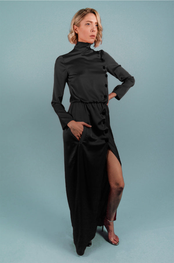 Black turtleneck maxi dress - BastetNoir