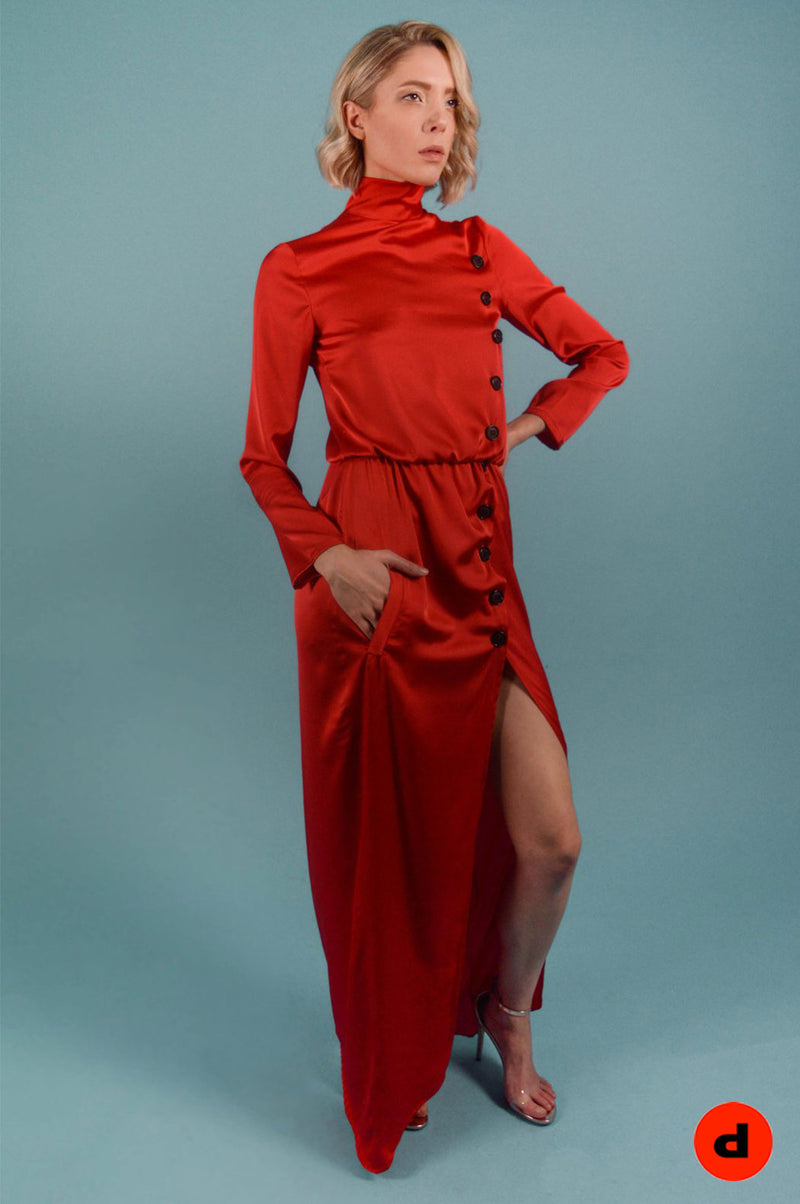 Red Turtleneck Maxi Dress - BastetNoir