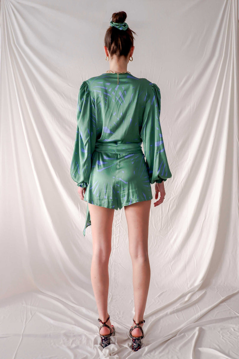 Green graphic print satin silk playsuit with side bow and bell sleeves  Edit alt text