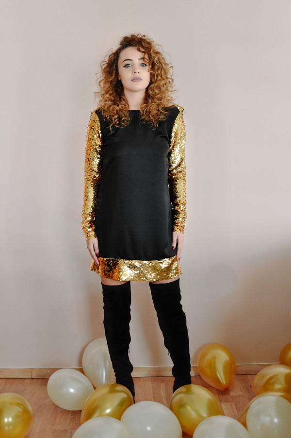 Mini Golden Sequin Bareback Dress - BastetNoir