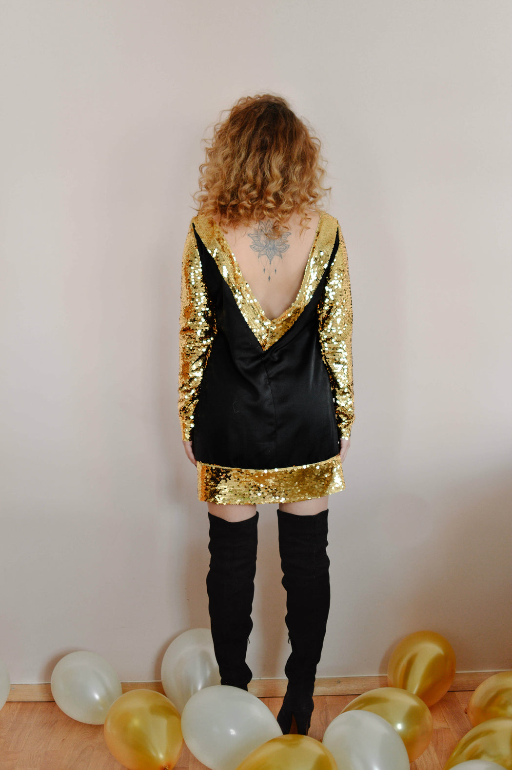 Golden sequin mini bareback dress