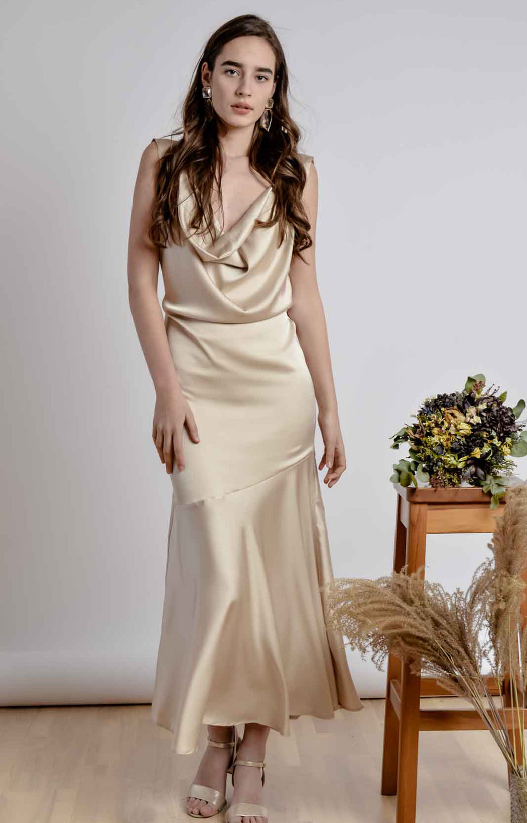 Sleeveless bareback champagne ankle length dress with pleated front neckline- BastetNoir
