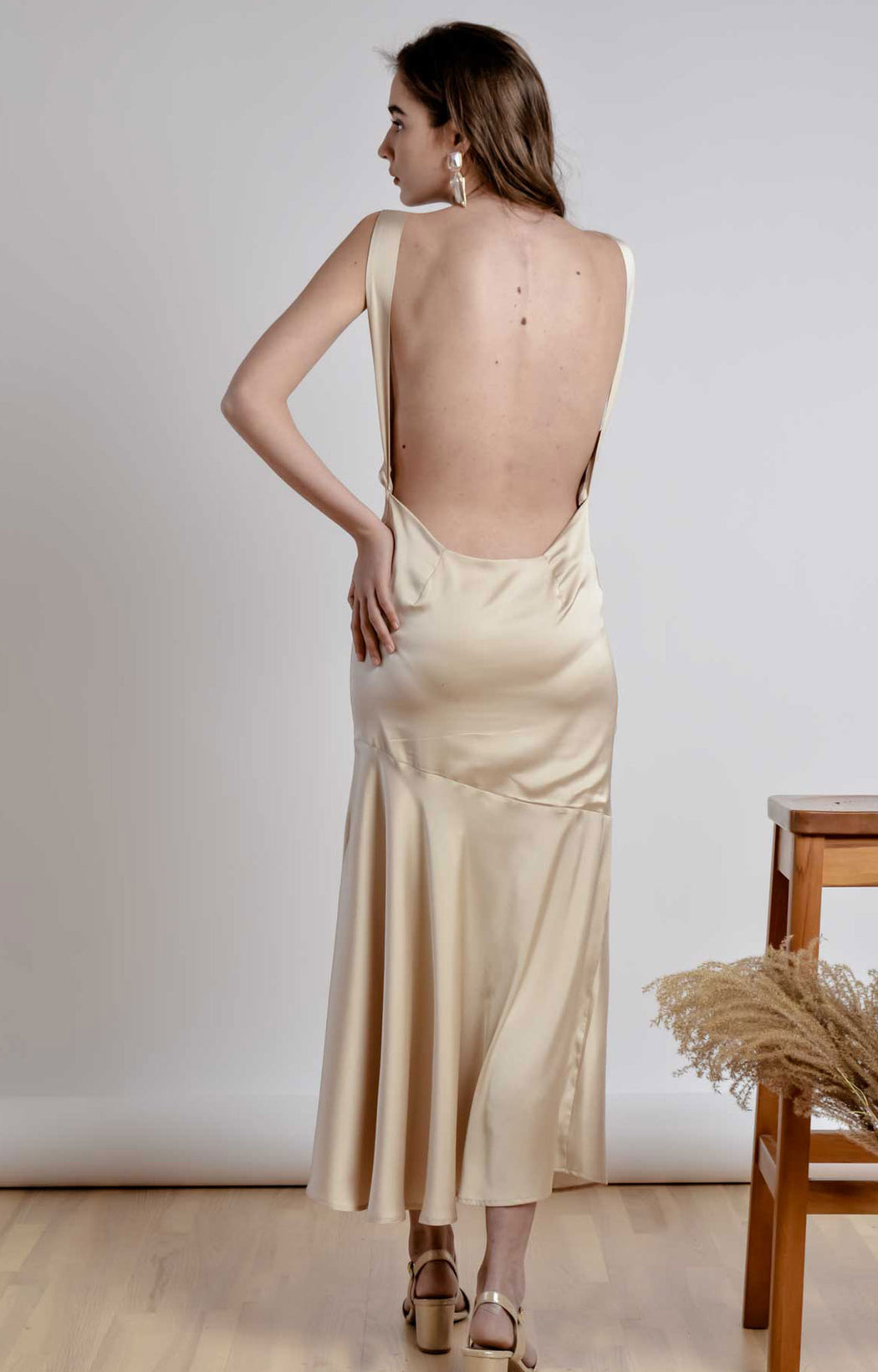 Sleeveless bareback champagne ankle length dress with pleated front neckline - BastetNoir