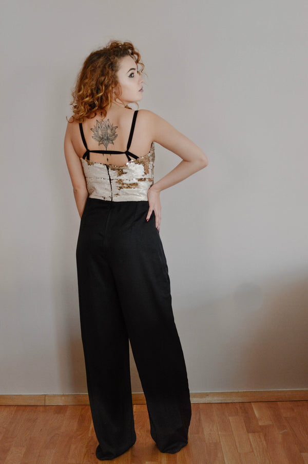 Golden Sequin Plunging Neckline Jumpsuit - BastetNoir