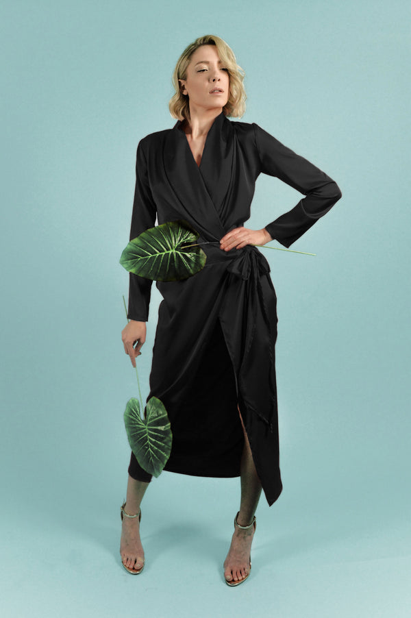 Black Satin Silk Shirt Dress - BastetNoir