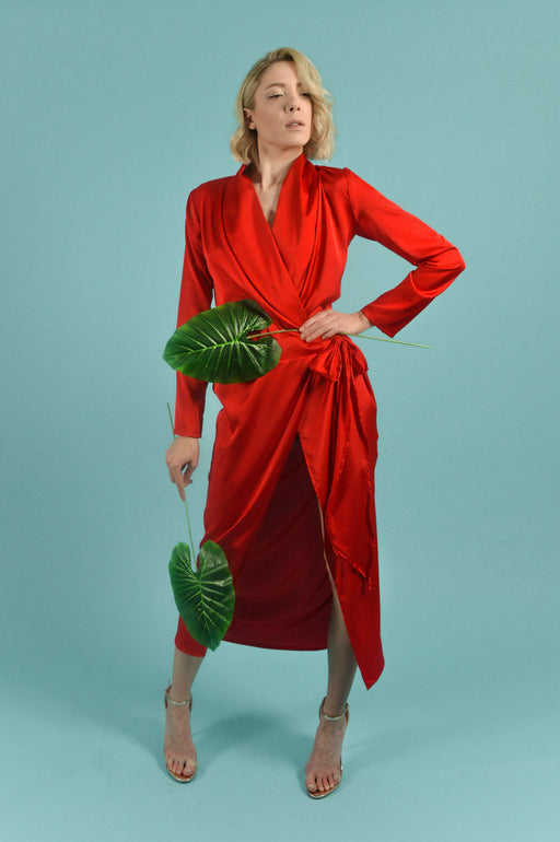 Red Satin midi Shirt Dress with front slit - BastetNoir