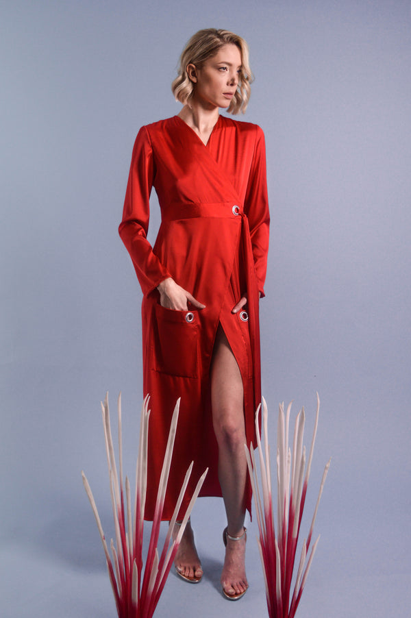 Red Silk Shirt Dress With Front Pockets - BastetNoir