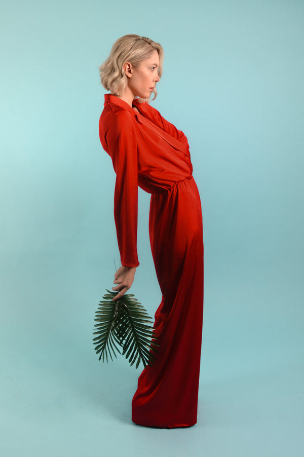 Red Silk Satin Jumpsuit - BastetNoir