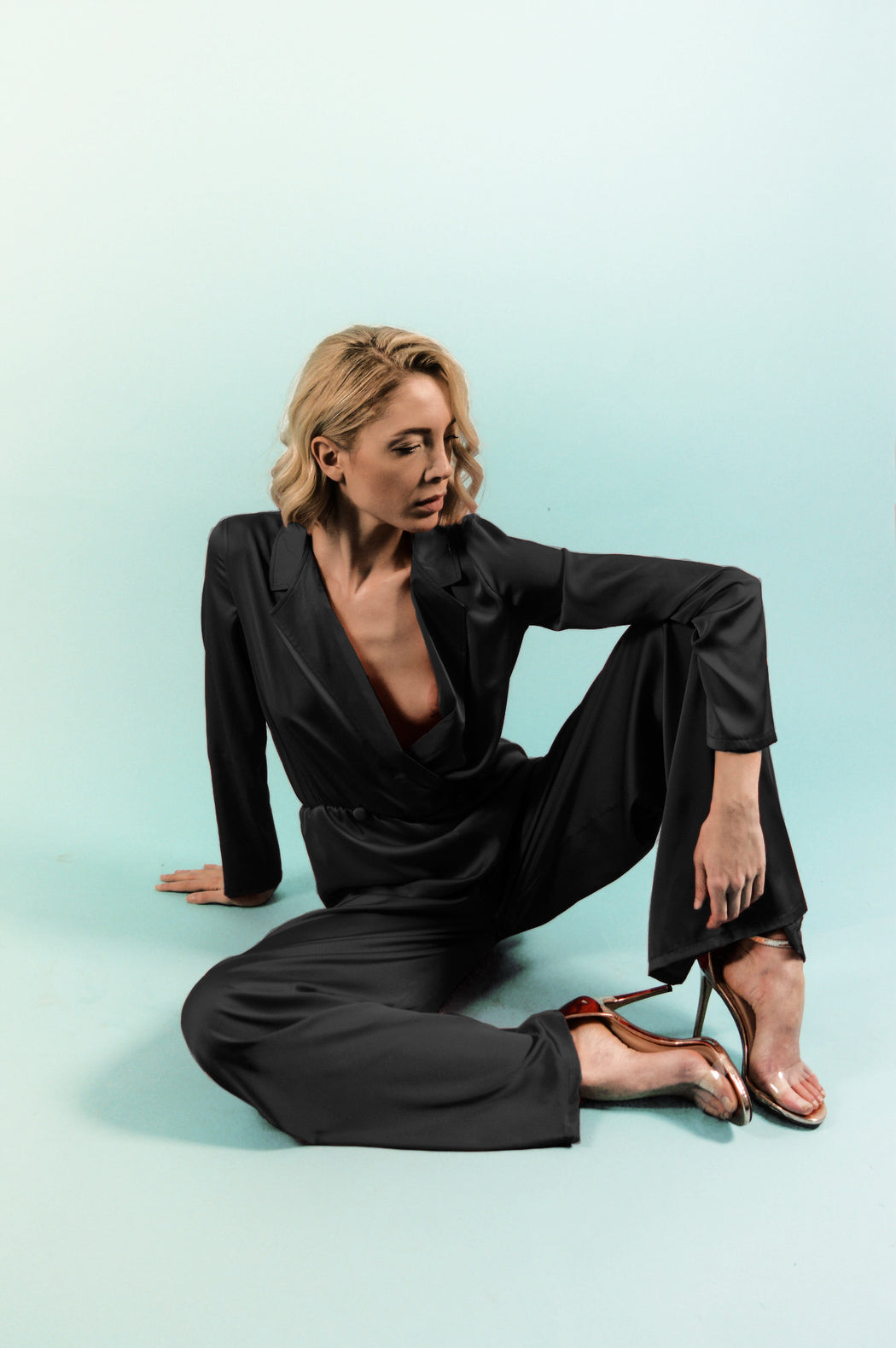 Black Satin Silk Jumpsuit - BastetNoir