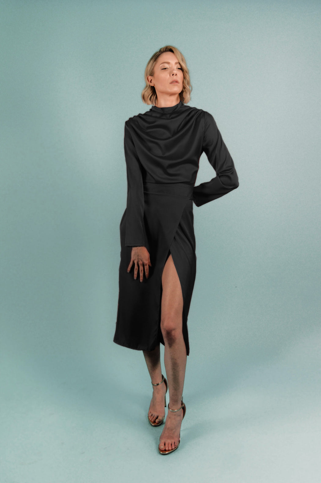 Black Satin Turtleneck Draped Midi Dress - BastetNoir