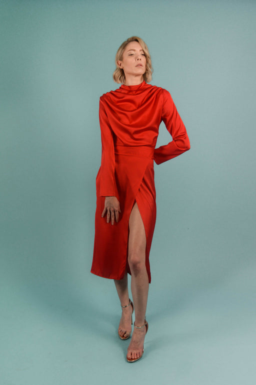 Red Silk Turtleneck Draped Midi Dress