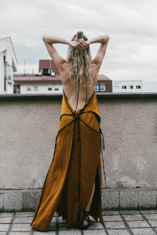 Marigold strappy bareback maxi dress