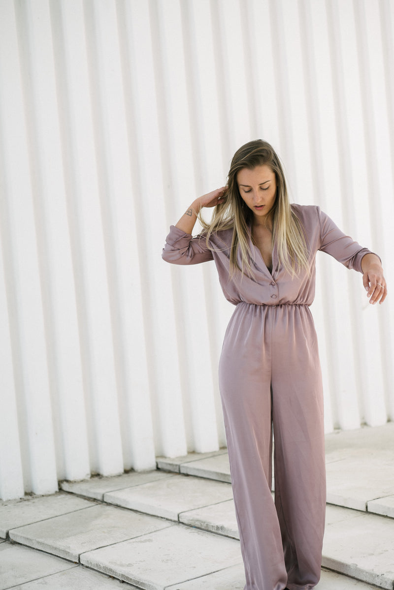 Pink Silk Jumpsuit - BastetNoir