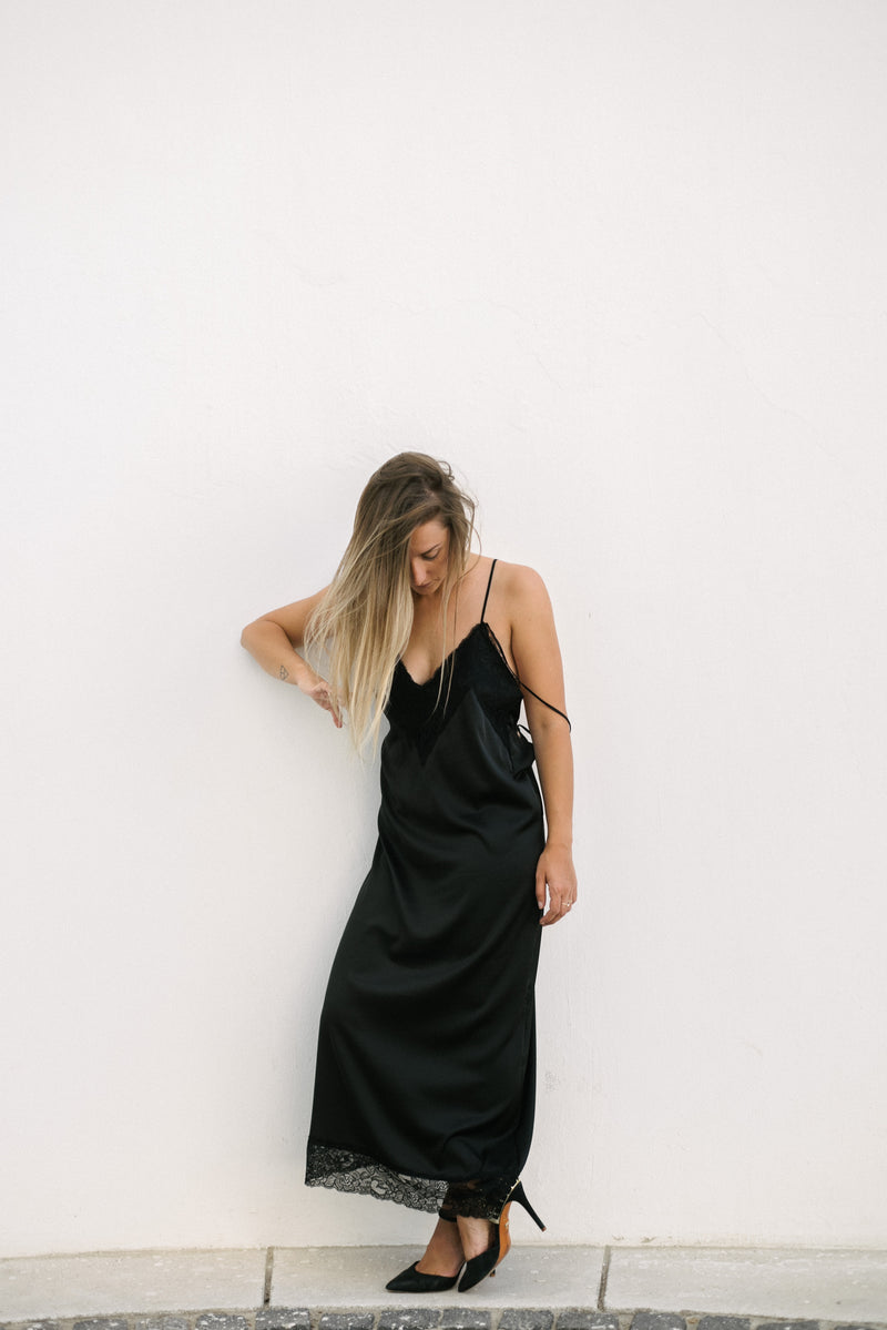 Black Bareback Slip Dress - BastetNoir