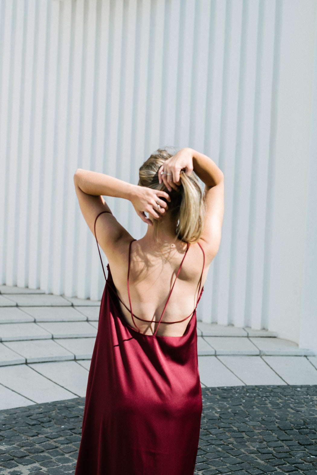 Burgundy Slip On Bareback Dress - BastetNoir