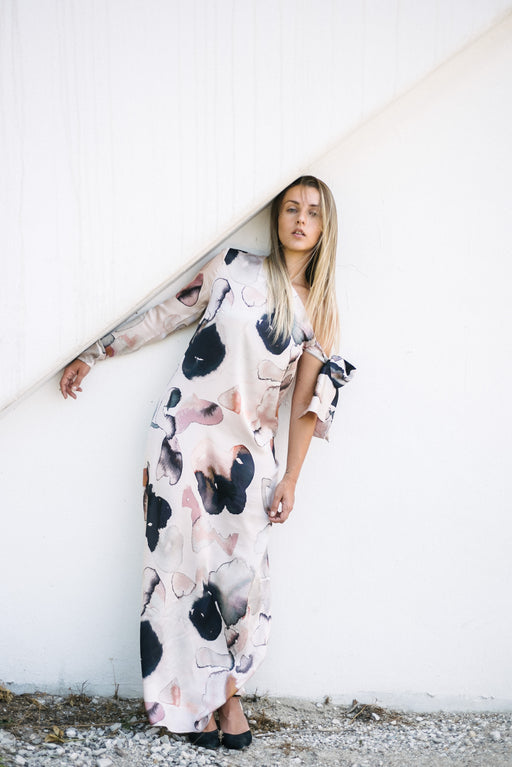 Floral Silk Maxi Dress - BastetNoir