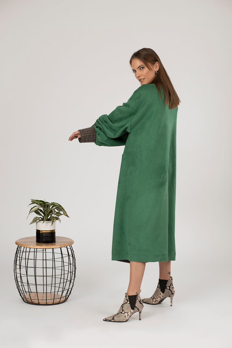 Emerald Green Oversized suede trench coat