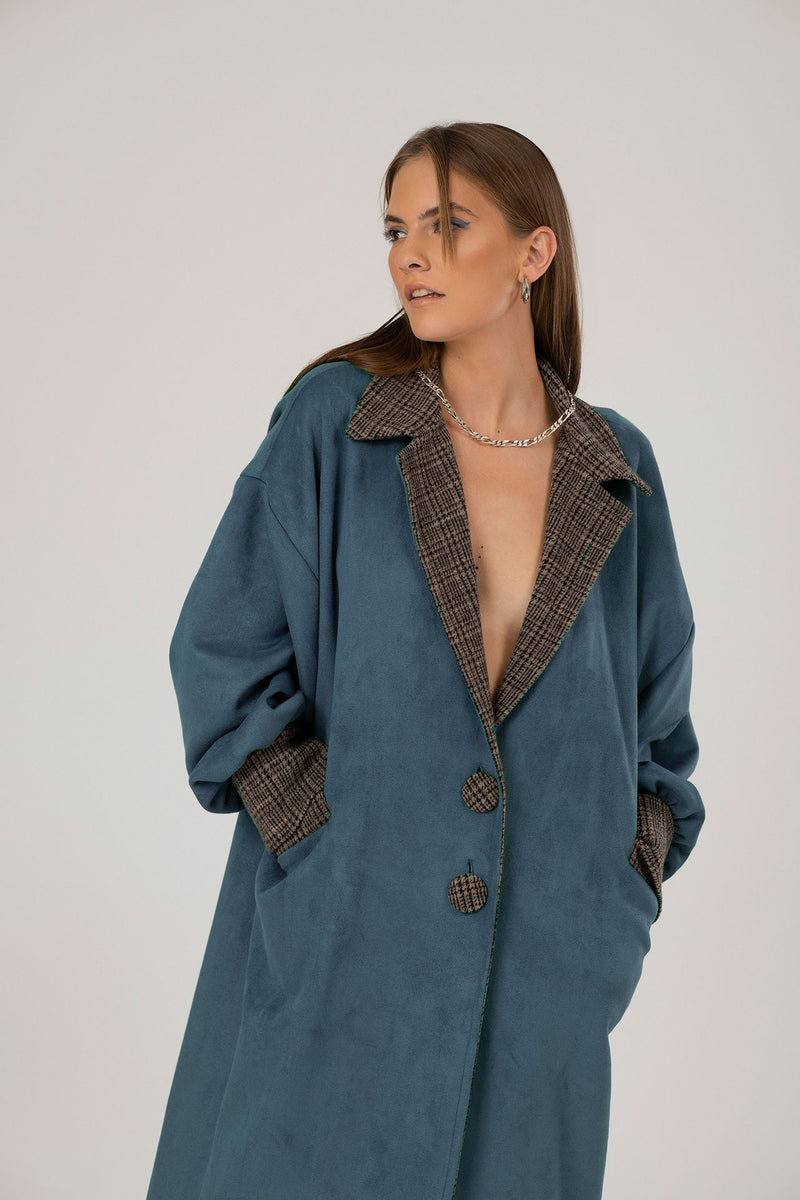 Turquoise Oversized suede trench coat  Edit alt text