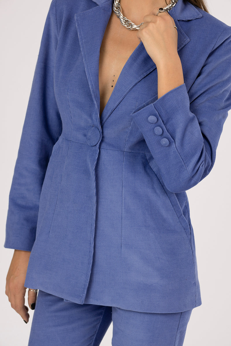 Blue corduroy blazer with two front pockets