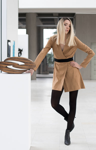 Suede brown shirt dress with long sleeves