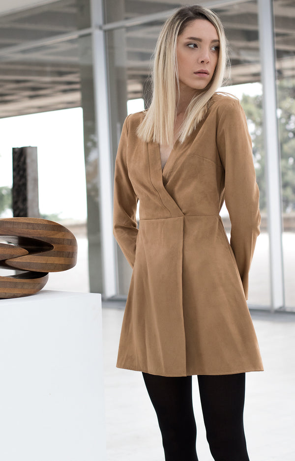 Suede brown shirt dress - BastetNoir
