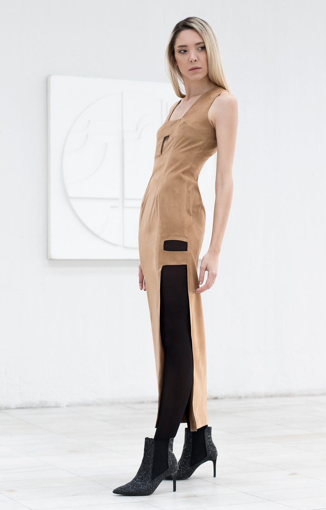 Suede maxi dress  - BastetNoir