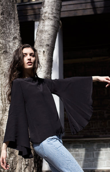 Black shirt with bell sleeves