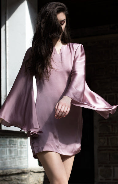 Pink silk dress with bell sleeves and short length
