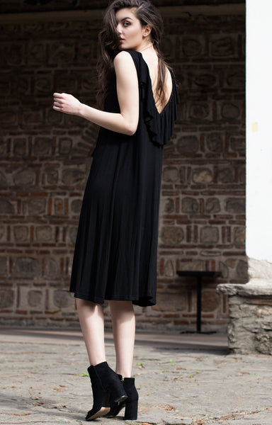 Black ruffle midi length sleeveless dress