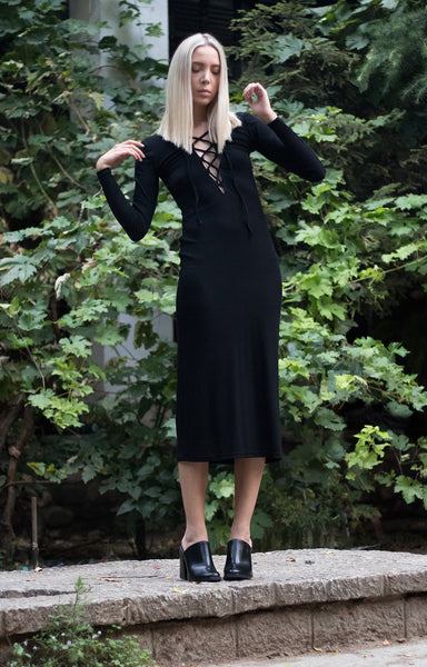 Bastet Noir black plunging neckline knit dress with laces and long sleeves