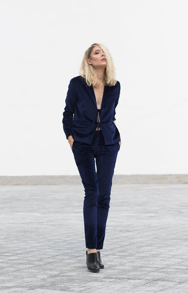 Bastet Noir blue velvet suit/pants