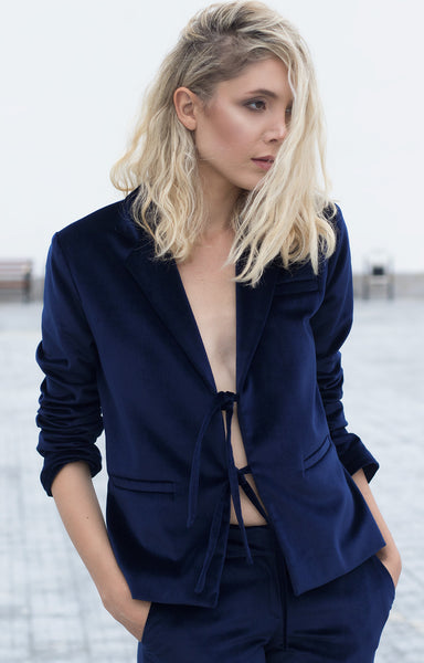 Bastet Noir blue velvet oversized blazer and suit
