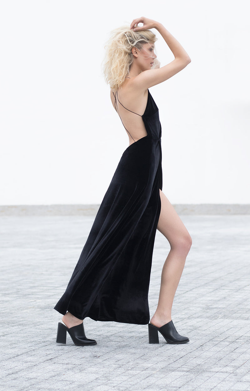 Bareback velvet dress - BastetNoir