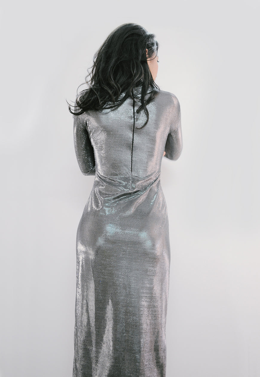 Silver Turtleneck Maxi Dress - BastetNoir