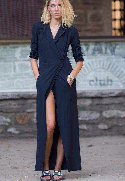 Bastet Noir Black maxi shirt dress with long sleeves and two front pockets