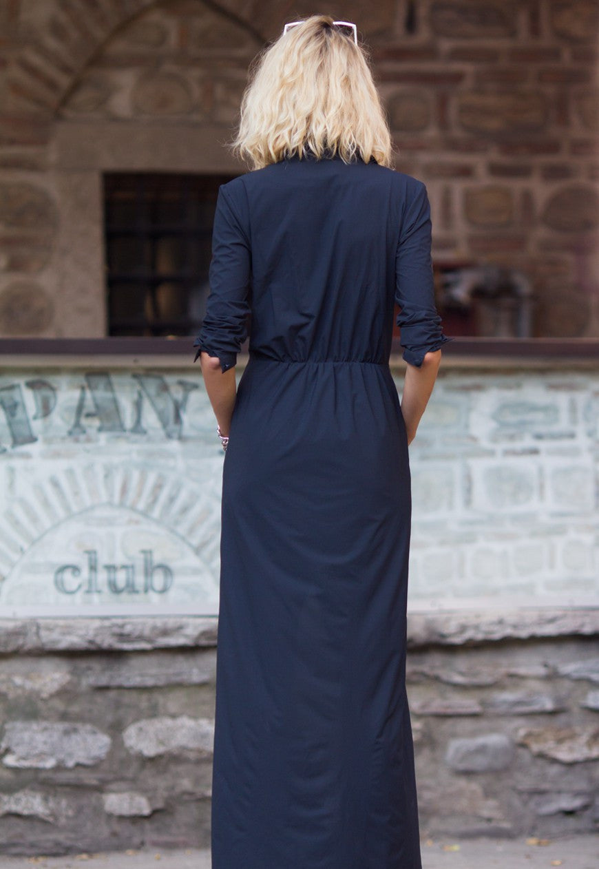 Black maxi shirt dress - BastetNoir