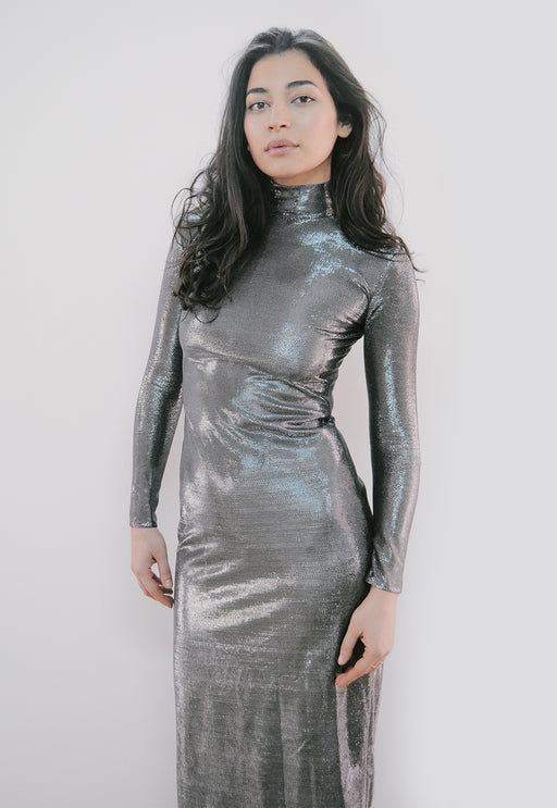 Silver maxi party turtleneck dress with long sleeves