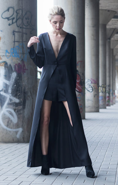 Bastet Noir Black maxi shirt dress with high waist hot pants and black cape
