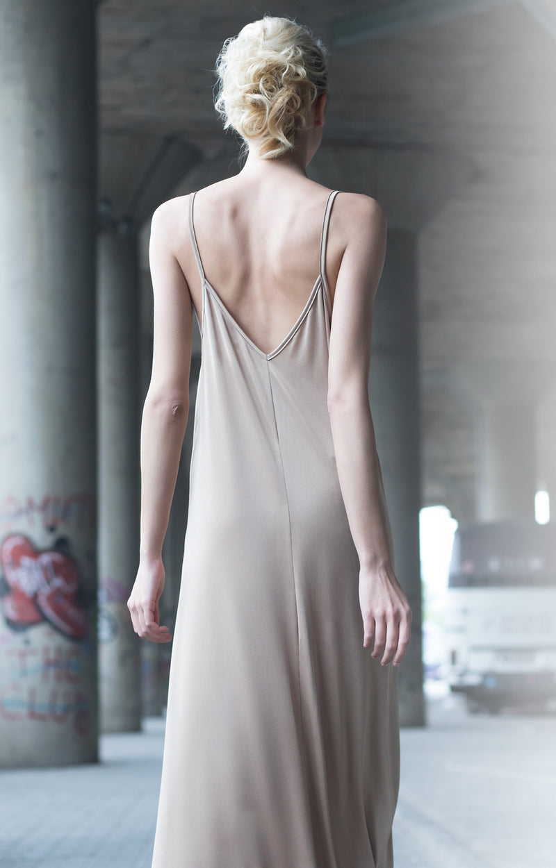 Strappy beige dress - BastetNoir