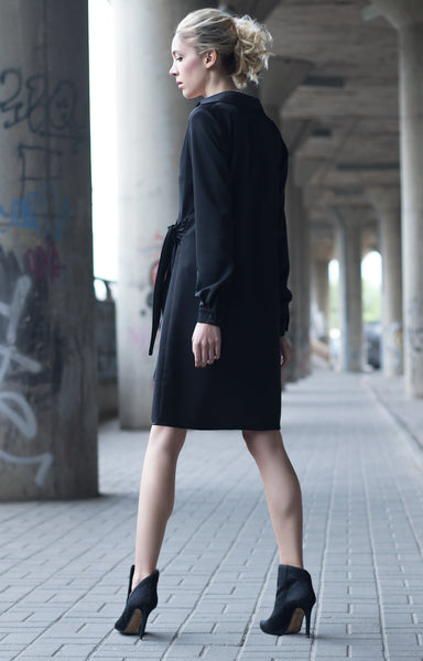 Bastet Noir Black short shirt dress with long sleeves and bow detail
