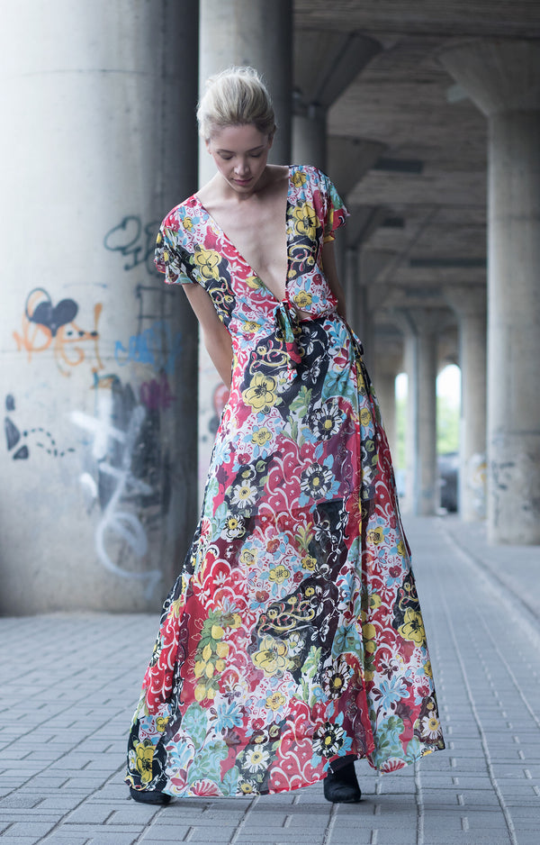 Floral maxi shirt dress - BastetNoir