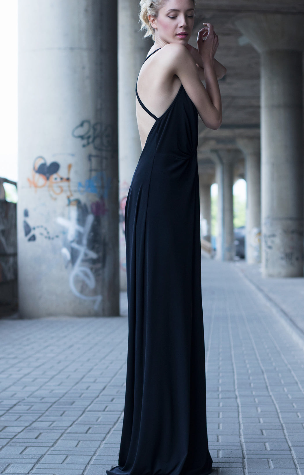 Bastet Noir Black plunging neckline bareback dress with front slit