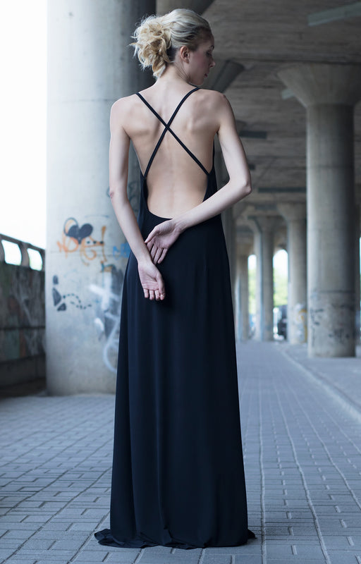 Black plunging neckline dress - BastetNoir