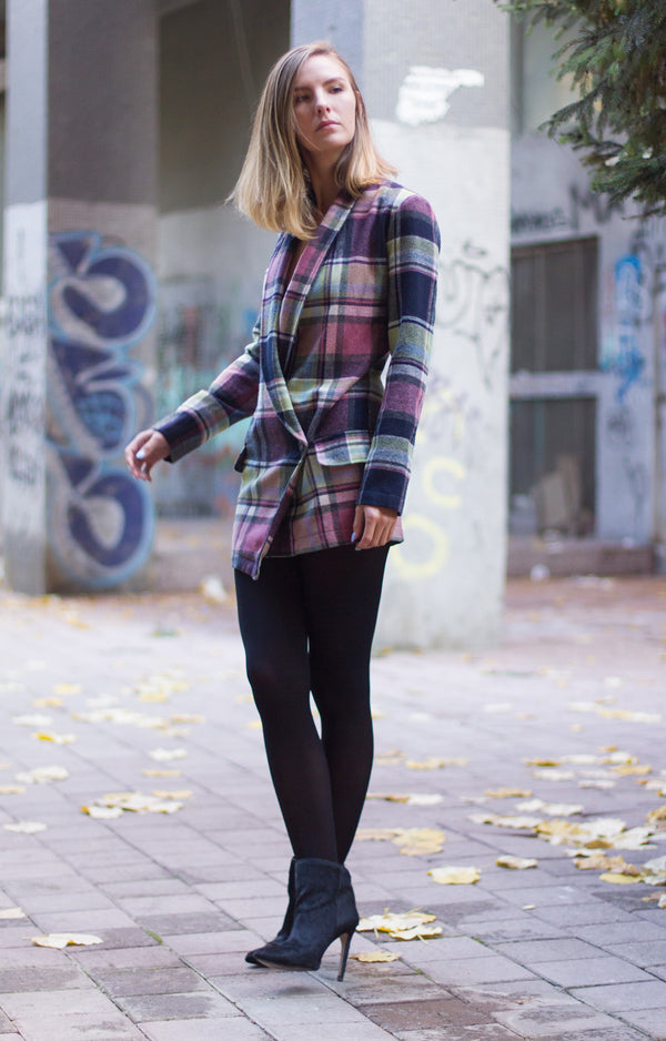 Plaid blazer dress - BastetNoir