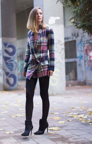 Bastet Noir Plaid blazer dress with asymmetric closure