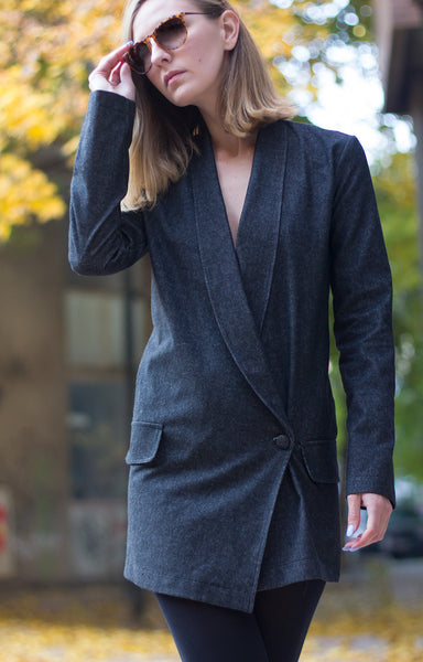 Bastet Noir Dark grey denim blazer dress