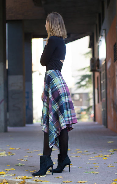 Bastet Noir Blanket plaid asymmetric high waist gypsy skirt