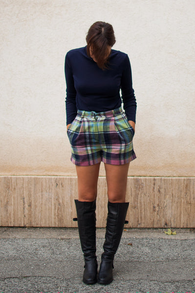 Plaid high waist short pants