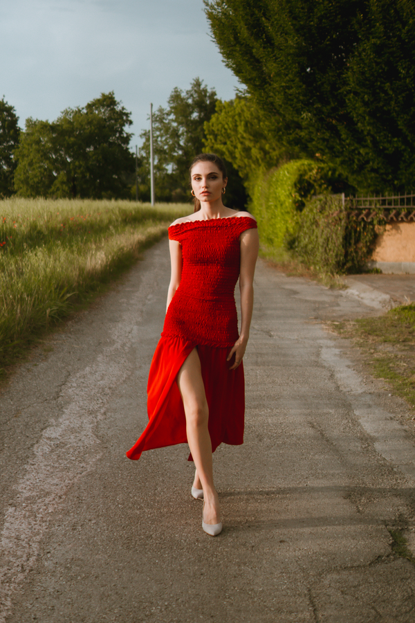 Red smocking midi dress with front slit
