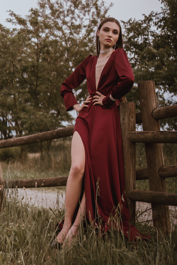 Burgundy Bareback Bridesmaid Maxi Dress-Bastet Noir